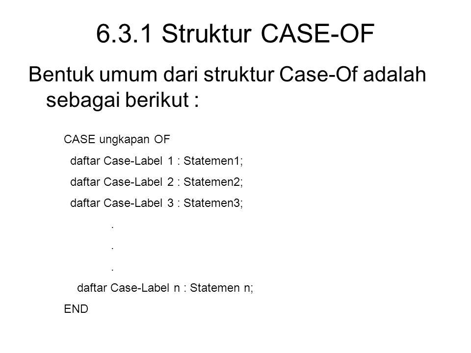 6.3.1 Struktur CASE-OF Bentuk umum dari struktur Case-Of adalah sebagai berikut : CASE ungkapan OF daftar Case-Label 1 : Statemen1; daftar Case-Label 2 : Statemen2; daftar Case-Label 3 : Statemen3;.