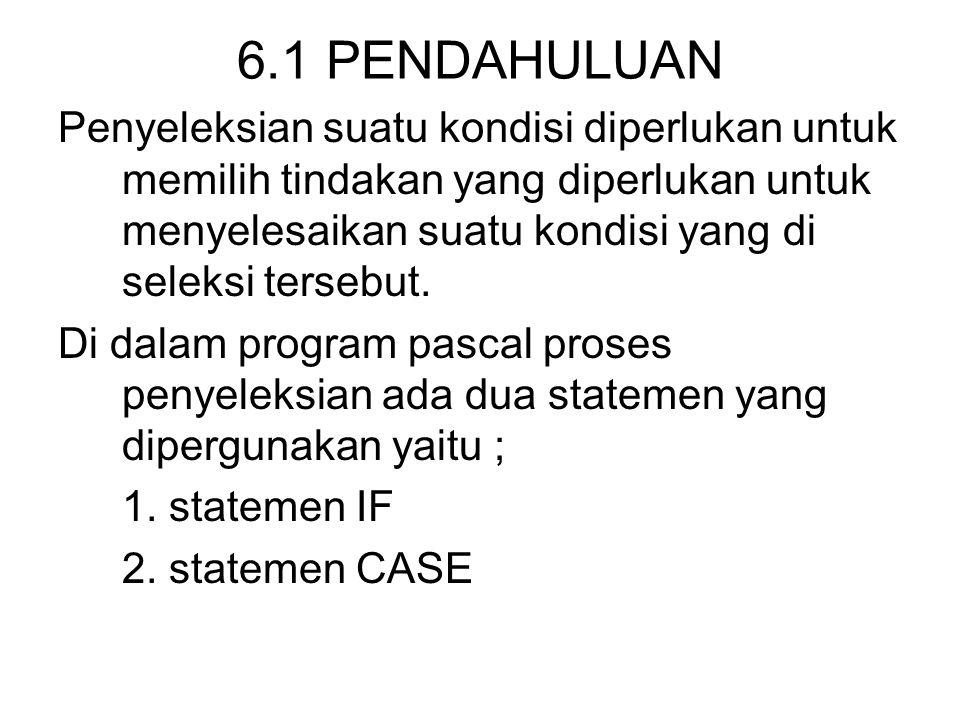 6.1 PENDAHULUAN Penyeleksian suatu kondisi diperlukan untuk memilih tindakan yang diperlukan untuk menyelesaikan suatu kondisi yang di seleksi tersebut.