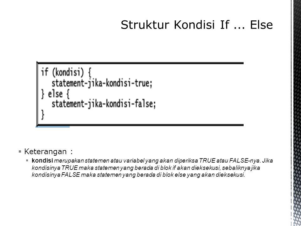 for (init_awal, kondisi, counter) { statement-yang-diulang; }  Keterangan :  init_awal merupakan inisialisasi atau nilai awal variable.