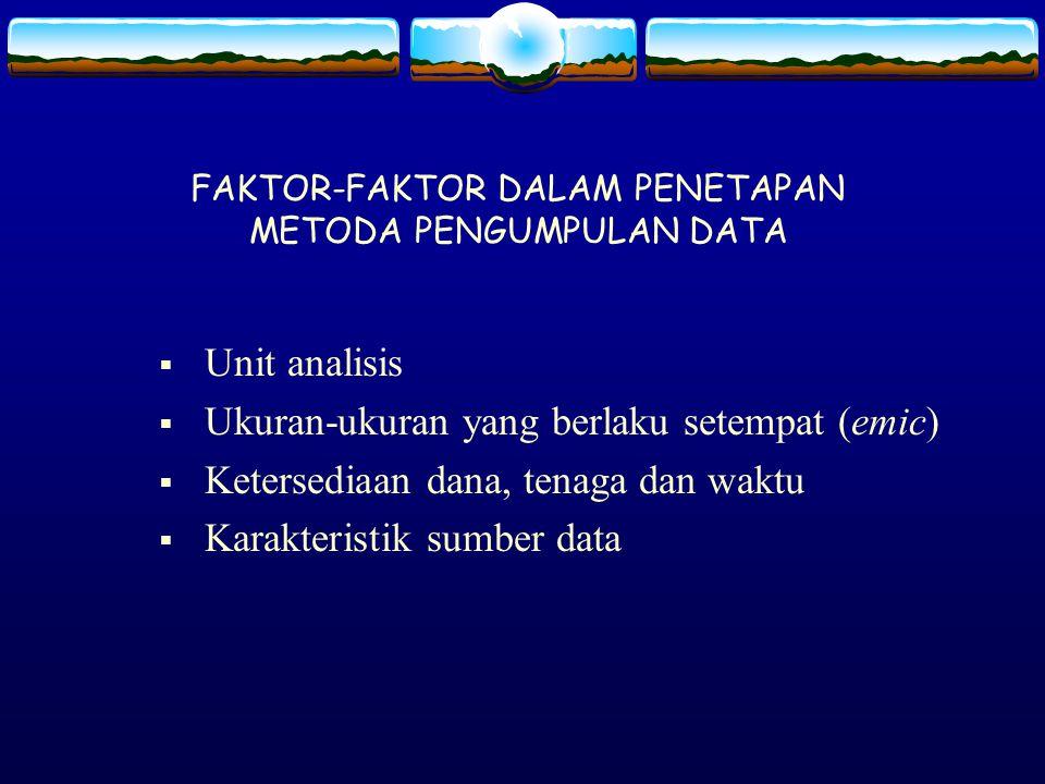 FAKTOR-FAKTOR DALAM PENETAPAN METODA PENGUMPULAN DATA  Unit analisis  Ukuran-ukuran yang berlaku setempat (emic)  Ketersediaan dana, tenaga dan wak