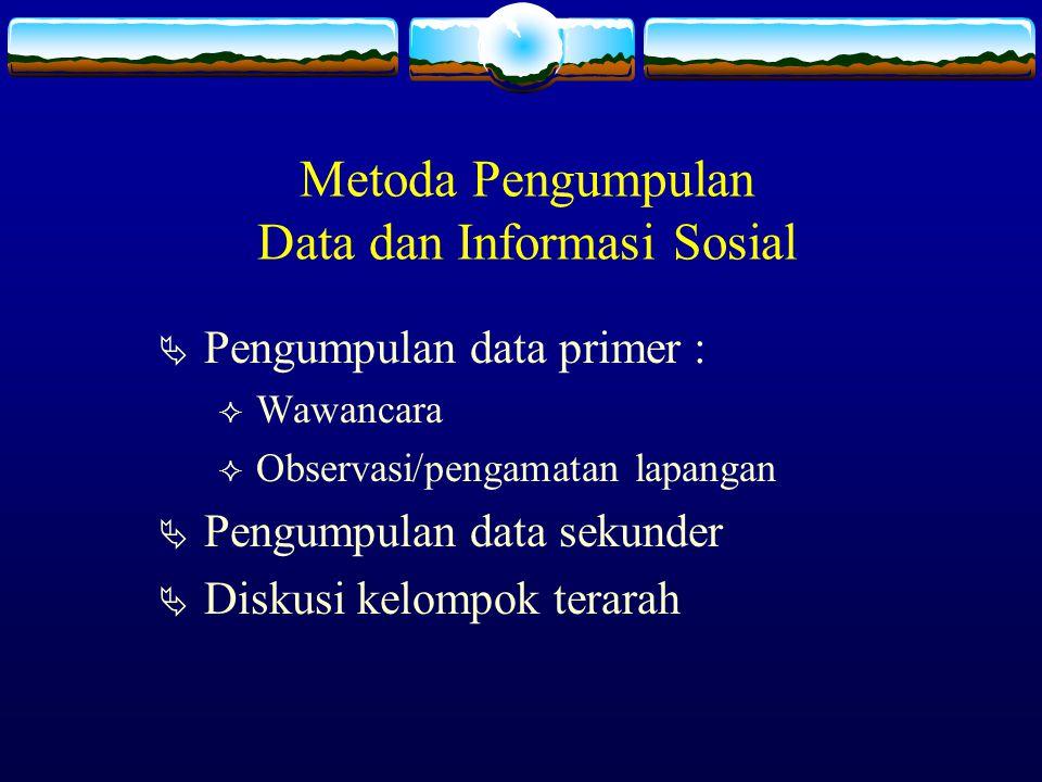 Metoda Pengumpulan Data dan Informasi Sosial PPengumpulan data primer : WWawancara OObservasi/pengamatan lapangan PPengumpulan data sekunder 