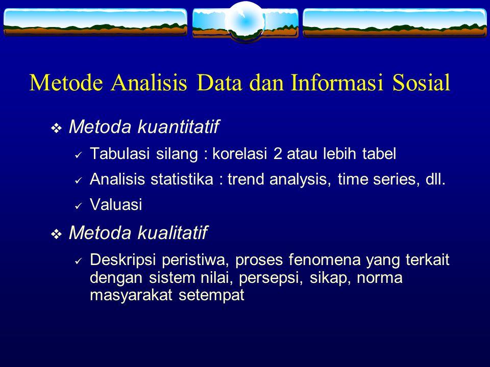 Metode Analisis Data dan Informasi Sosial  Metoda kuantitatif Tabulasi silang : korelasi 2 atau lebih tabel Analisis statistika : trend analysis, tim