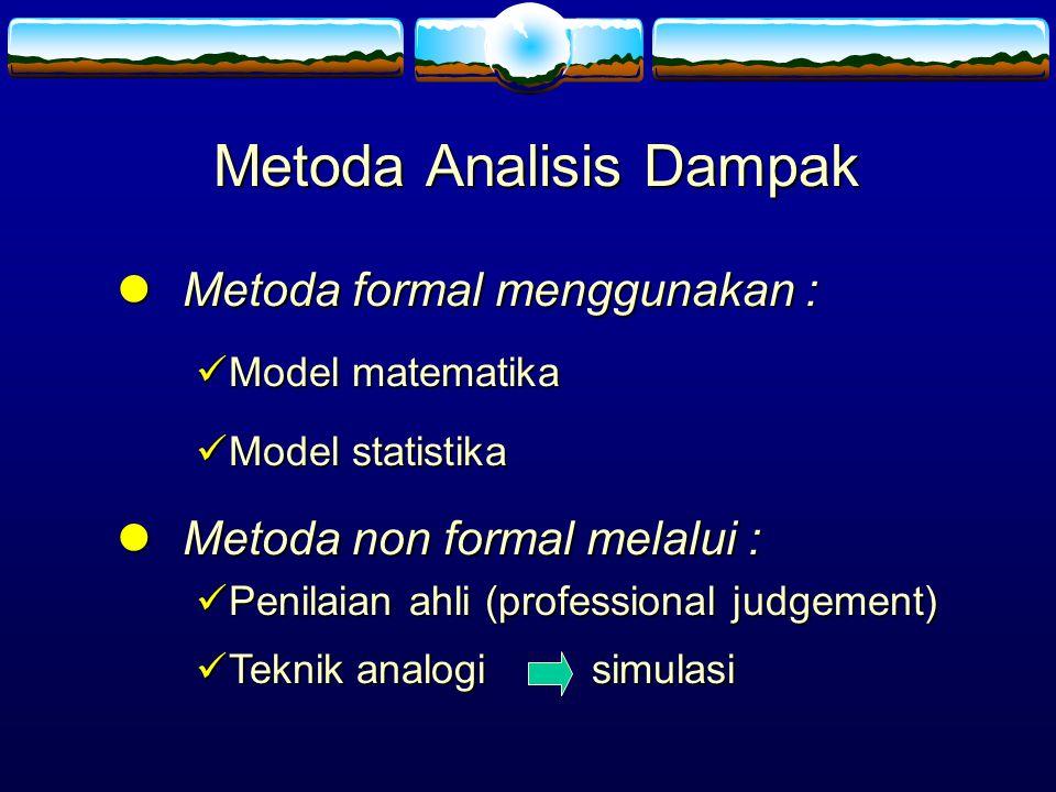 Metoda Analisis Dampak Metoda Metoda formal menggunakan : Model Model matematika statistika Metoda Metoda non formal melalui : Penilaian Penilaian ahl