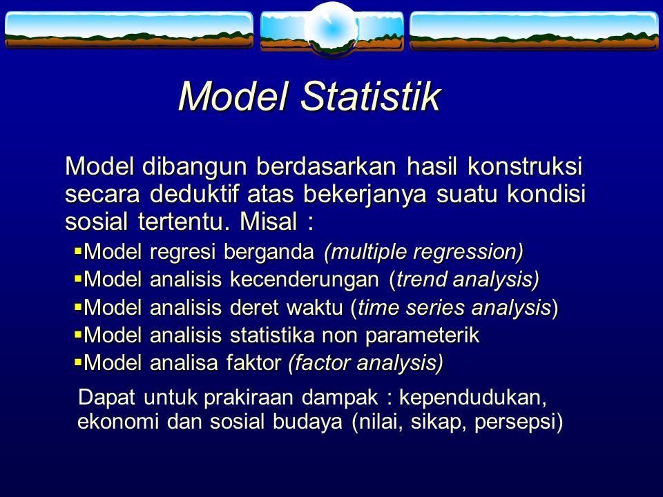 Model Statistik Model dibangun berdasarkan hasil konstruksi secara deduktif atas bekerjanya suatu kondisi sosial tertentu. Misal : Model dibangun berd