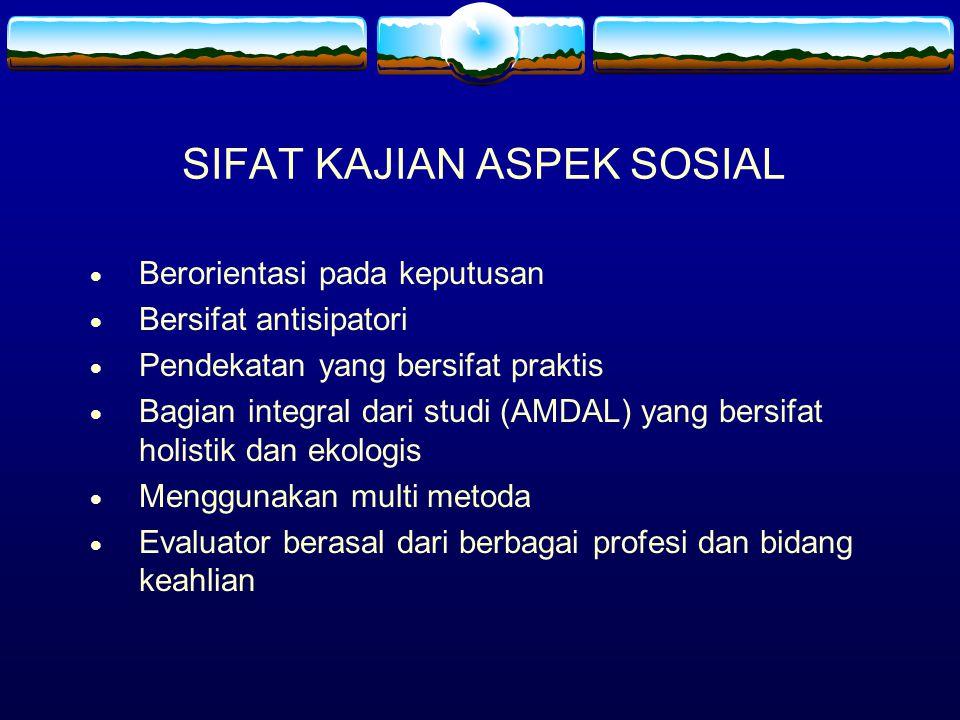 Faktor-faktor yang perlu diperhatikan dalam Penyusunan Rona Lingkungan Sosial  Penjabaran terhadap komponen lingkungan sosial, ekonomi, dan budaya menurut KA.