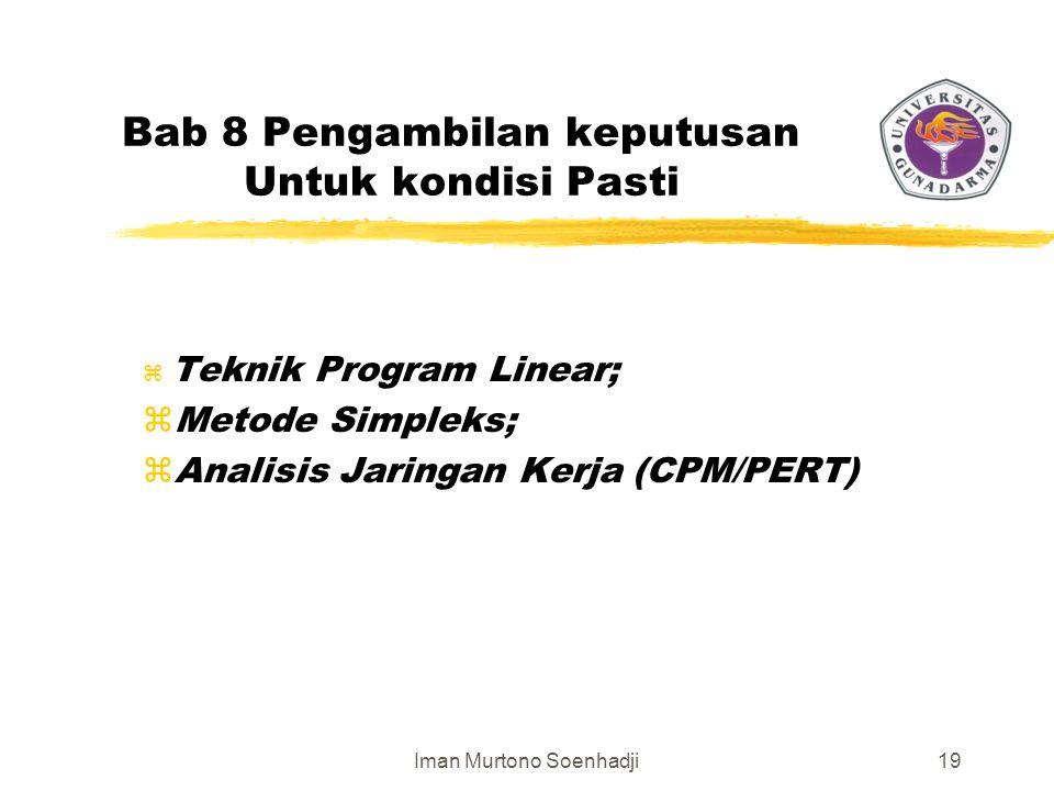 Iman Murtono Soenhadji19 Bab 8 Pengambilan keputusan Untuk kondisi Pasti z Teknik Program Linear; zMetode Simpleks; zAnalisis Jaringan Kerja (CPM/PERT)