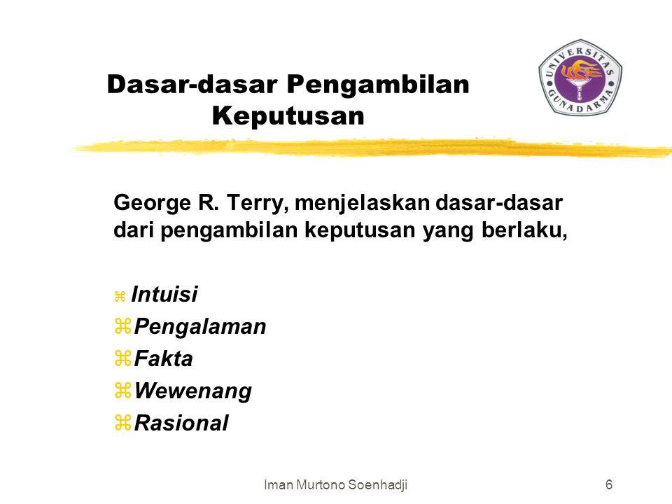Iman Murtono Soenhadji6 Dasar-dasar Pengambilan Keputusan George R.
