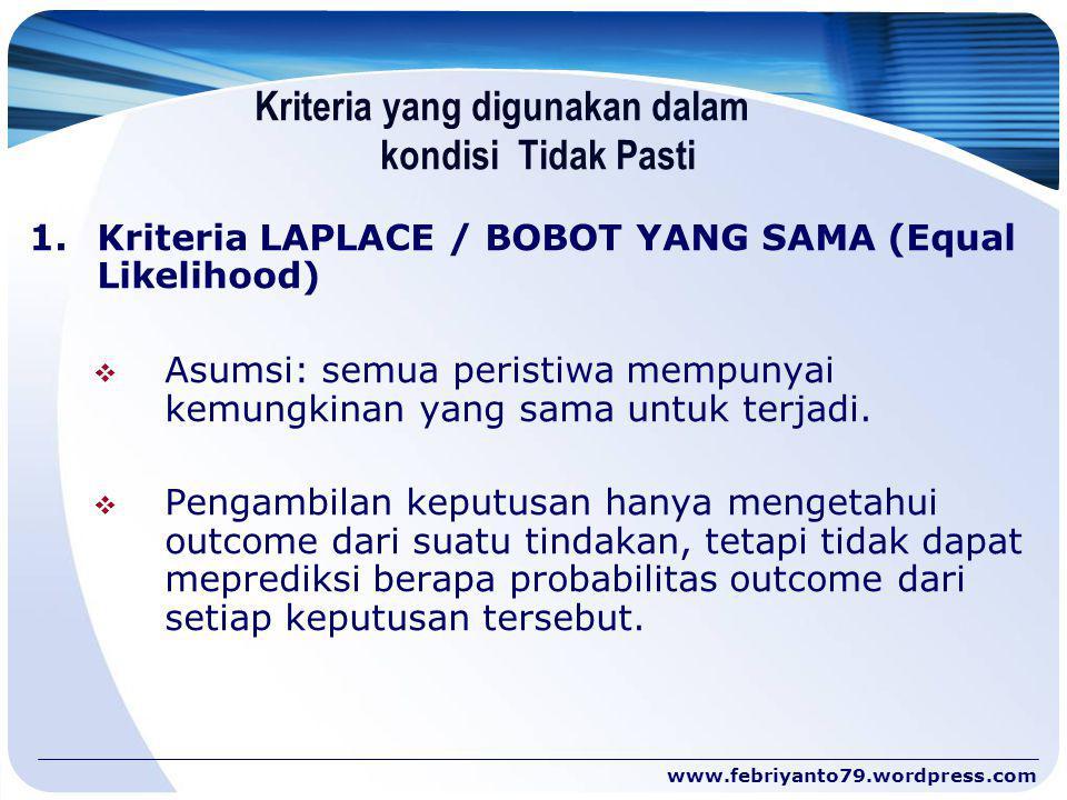 Kriteria yang digunakan dalam kondisi Tidak Pasti 1. Kriteria LAPLACE / BOBOT YANG SAMA (Equal Likelihood)  Asumsi: semua peristiwa mempunyai kemungk