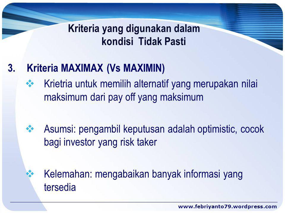 Kriteria yang digunakan dalam kondisi Tidak Pasti 3.Kriteria MAXIMAX (Vs MAXIMIN)  Krietria untuk memilih alternatif yang merupakan nilai maksimum da