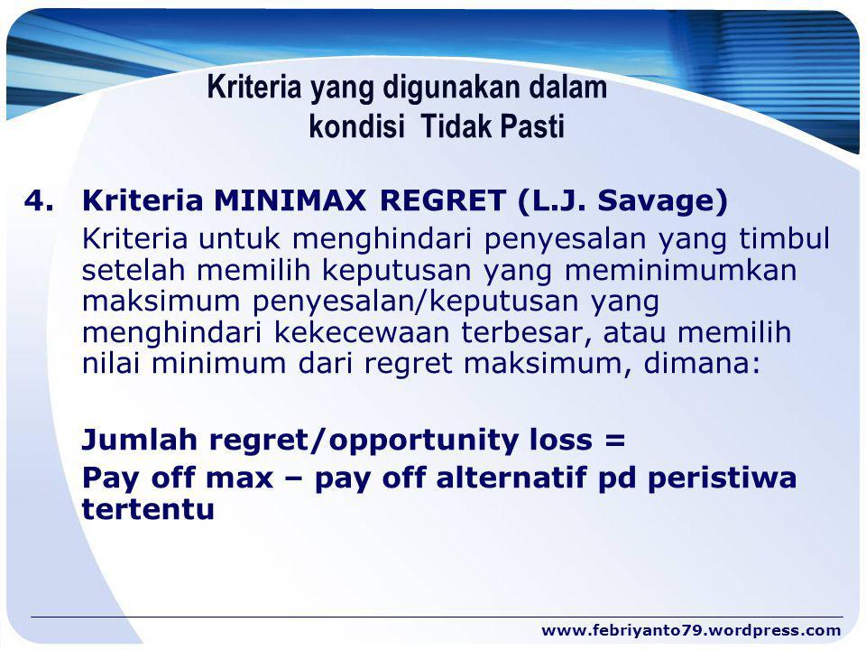 Kriteria yang digunakan dalam kondisi Tidak Pasti 4.Kriteria MINIMAX REGRET (L.J. Savage) Kriteria untuk menghindari penyesalan yang timbul setelah me