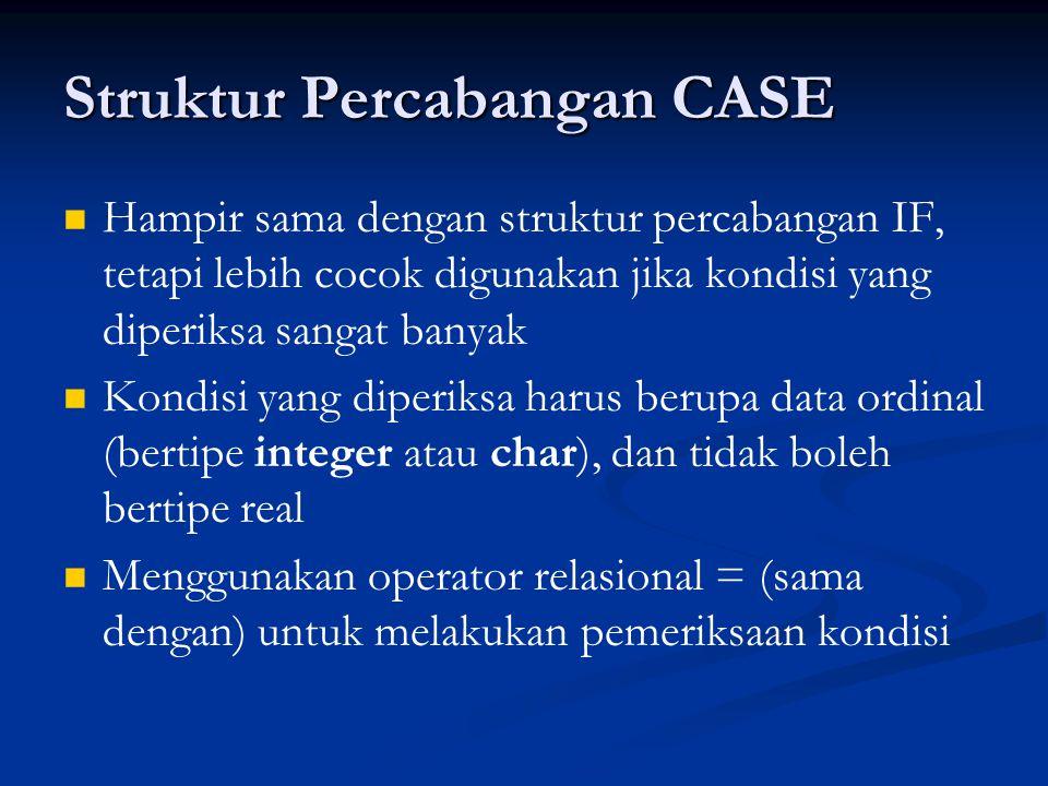 Struktur Percabangan CASE Hampir sama dengan struktur percabangan IF, tetapi lebih cocok digunakan jika kondisi yang diperiksa sangat banyak Kondisi yang diperiksa harus berupa data ordinal (bertipe integer atau char), dan tidak boleh bertipe real Menggunakan operator relasional = (sama dengan) untuk melakukan pemeriksaan kondisi