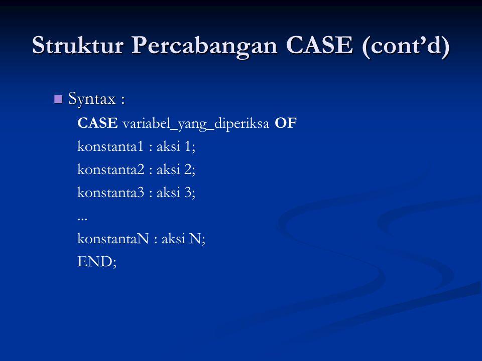 Struktur Percabangan CASE (cont'd) Syntax : Syntax : CASE variabel_yang_diperiksa OF konstanta1 : aksi 1; konstanta2 : aksi 2; konstanta3 : aksi 3;...