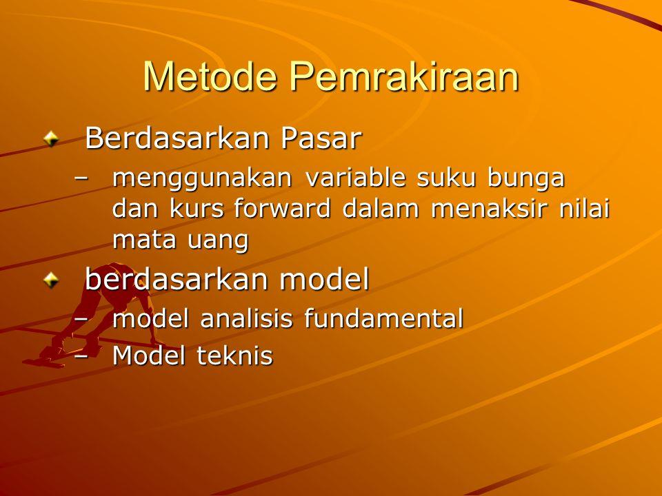 Metode Pemrakiraan Berdasarkan Pasar –m–m–m–menggunakan variable suku bunga dan kurs forward dalam menaksir nilai mata uang berdasarkan model –m–m–m–m