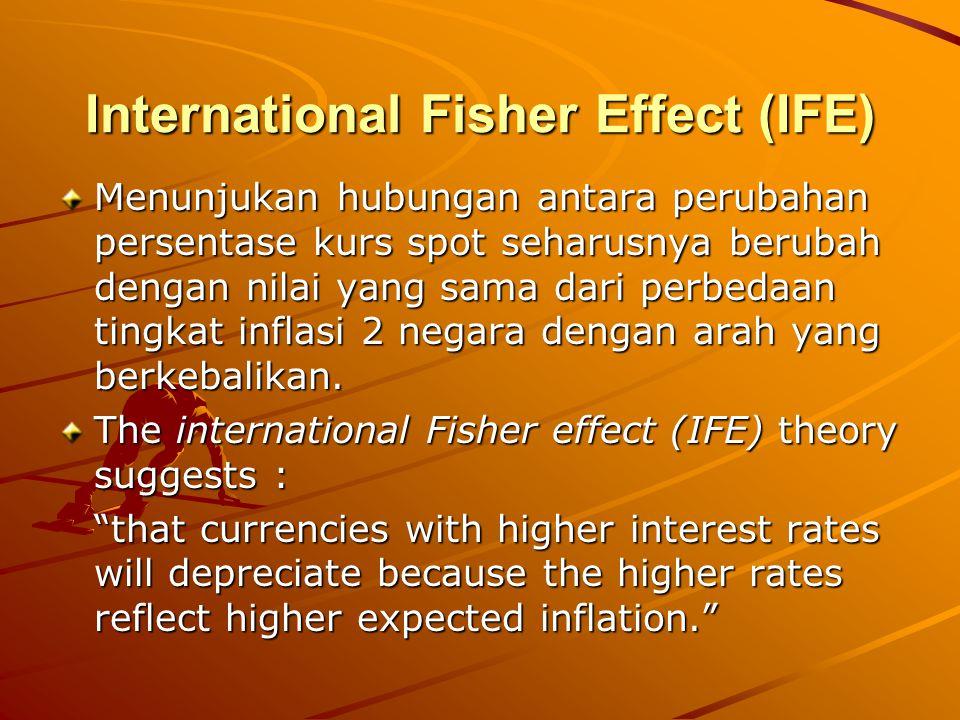 International Fisher Effect (IFE) Menunjukan hubungan antara perubahan persentase kurs spot seharusnya berubah dengan nilai yang sama dari perbedaan t