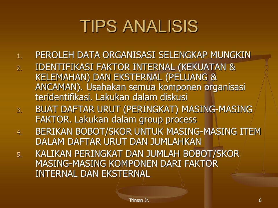 Triman Jr.6 TIPS ANALISIS 1. PEROLEH DATA ORGANISASI SELENGKAP MUNGKIN 2.