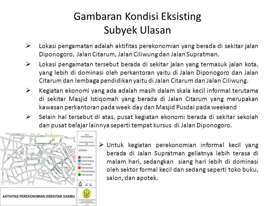 Gambaran Kondisi Eksisting Subyek Ulasan  Lokasi pengamatan adalah aktifitas perekonomian yang berada di sekitar jalan Diponogoro, Jalan Citarum, Jalan Ciliwung dan Jalan Supratman.
