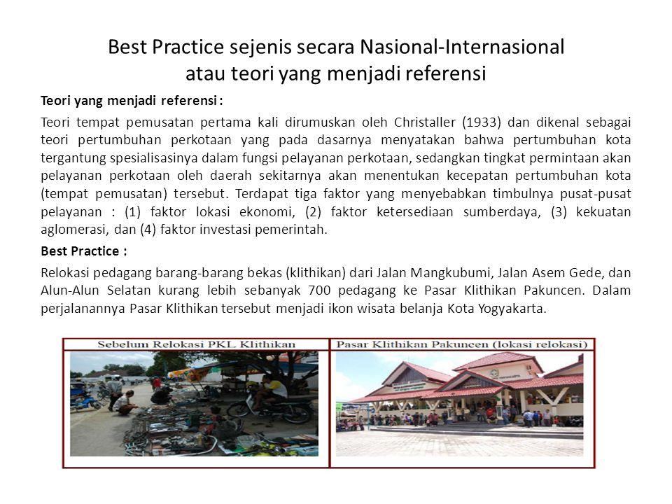Best Practice sejenis secara Nasional-Internasional atau teori yang menjadi referensi Teori yang menjadi referensi : Teori tempat pemusatan pertama ka