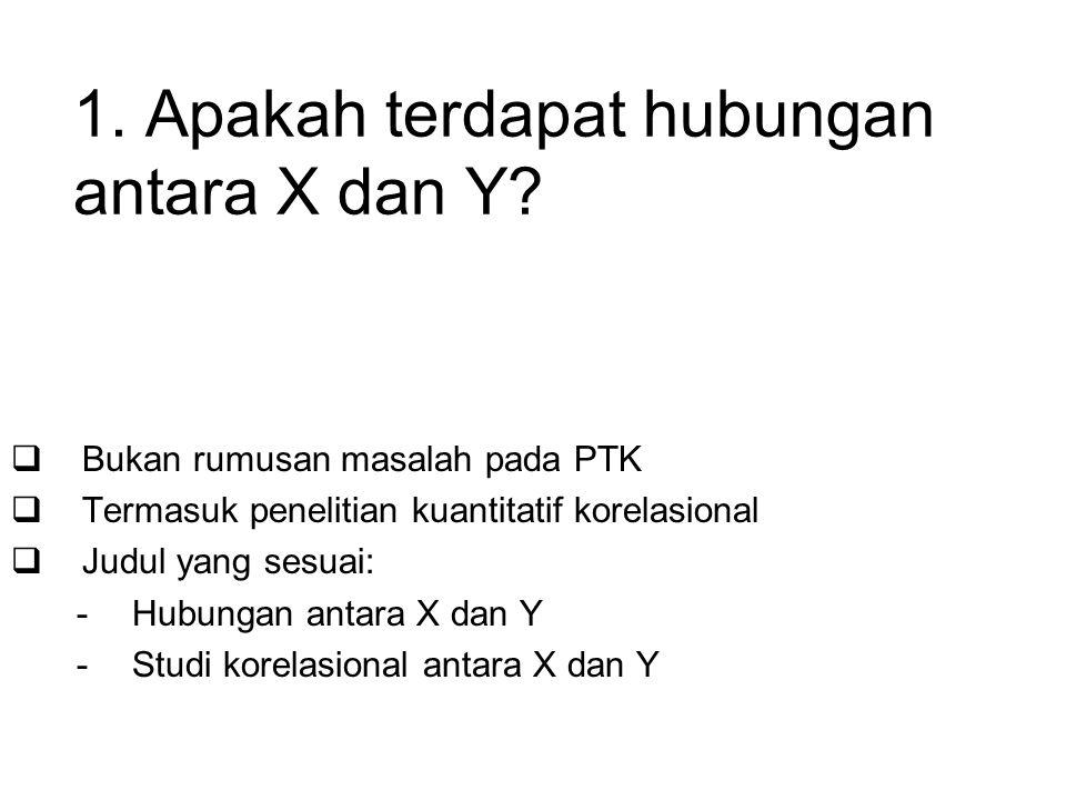 1.Apakah terdapat hubungan antara X dan Y.