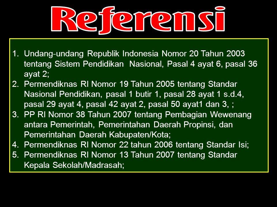 1.Undang-undang Republik Indonesia Nomor 20 Tahun 2003 tentang Sistem Pendidikan Nasional, Pasal 4 ayat 6, pasal 36 ayat 2; 2.Permendiknas RI Nomor 19