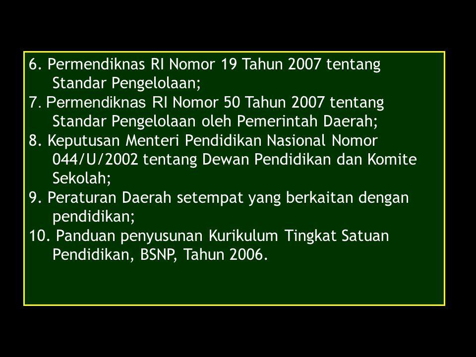 6. Permendiknas RI Nomor 19 Tahun 2007 tentang Standar Pengelolaan; 7. Permendiknas RI Nomor 50 Tahun 2007 tentang Standar Pengelolaan oleh Pemerintah
