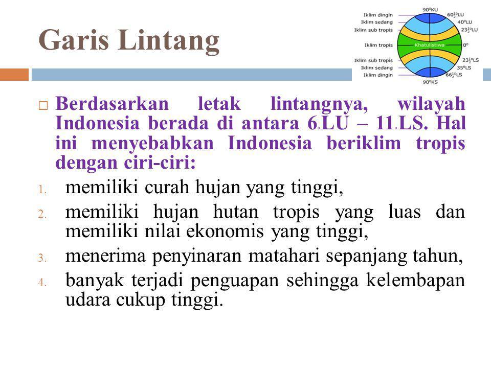 Garis Bujur  Letak astronomi Indonesia yang berada di antara 95o BT – 141o BT menjadikan Indonesia memiliki tiga daerah waktu, yaitu:  Daerah Waktu Indonesia bagian Barat (WIB),  Daerah Waktu Indonesia bagian Tengah (WITA),  Daerah Waktu Indonesia bagian Timur (WIT),