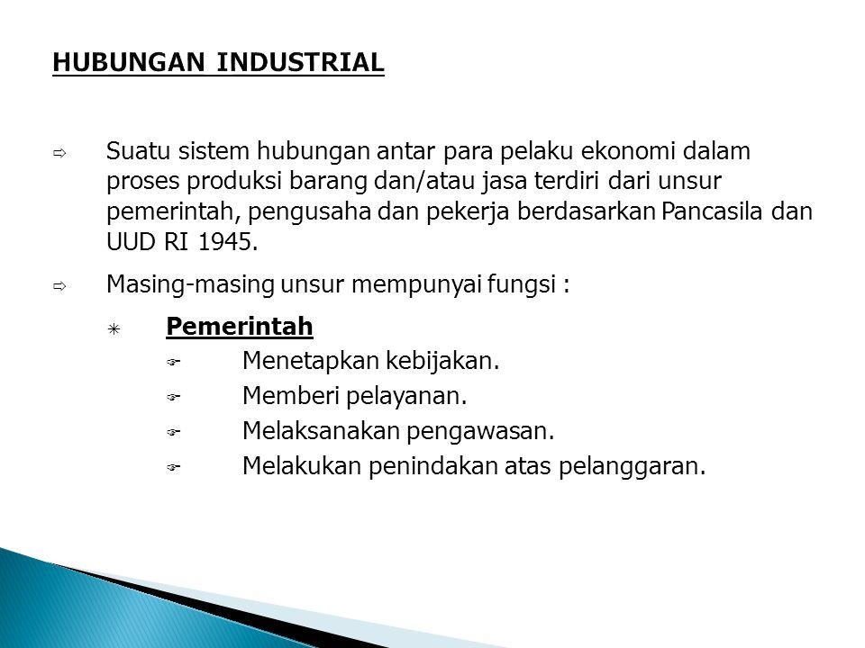  Suatu sistem hubungan antar para pelaku ekonomi dalam proses produksi barang dan/atau jasa terdiri dari unsur pemerintah, pengusaha dan pekerja berdasarkan Pancasila dan UUD RI 1945.