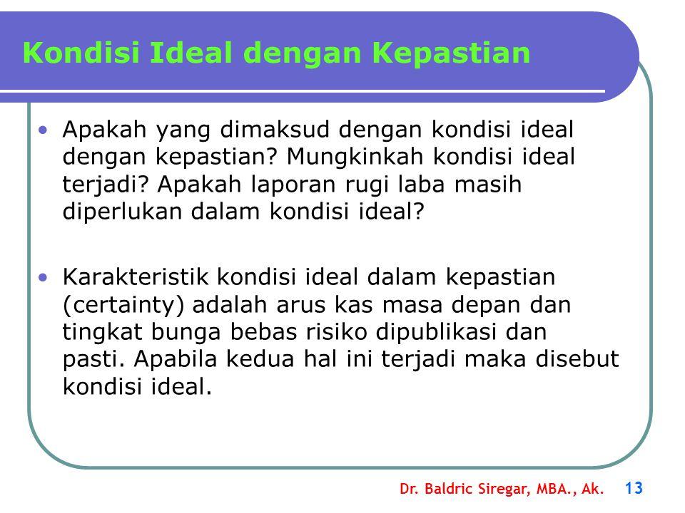 Dr. Baldric Siregar, MBA., Ak. 13 Apakah yang dimaksud dengan kondisi ideal dengan kepastian? Mungkinkah kondisi ideal terjadi? Apakah laporan rugi la