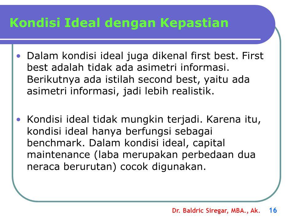Dr. Baldric Siregar, MBA., Ak. 16 Dalam kondisi ideal juga dikenal first best. First best adalah tidak ada asimetri informasi. Berikutnya ada istilah
