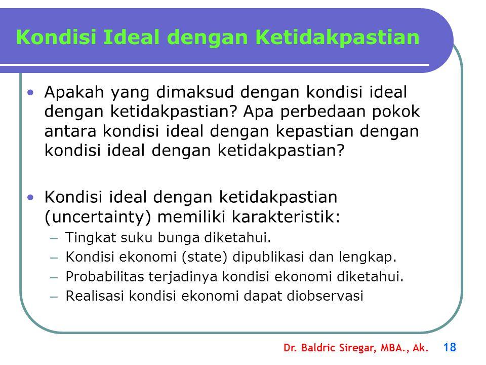 Dr. Baldric Siregar, MBA., Ak. 18 Apakah yang dimaksud dengan kondisi ideal dengan ketidakpastian? Apa perbedaan pokok antara kondisi ideal dengan kep