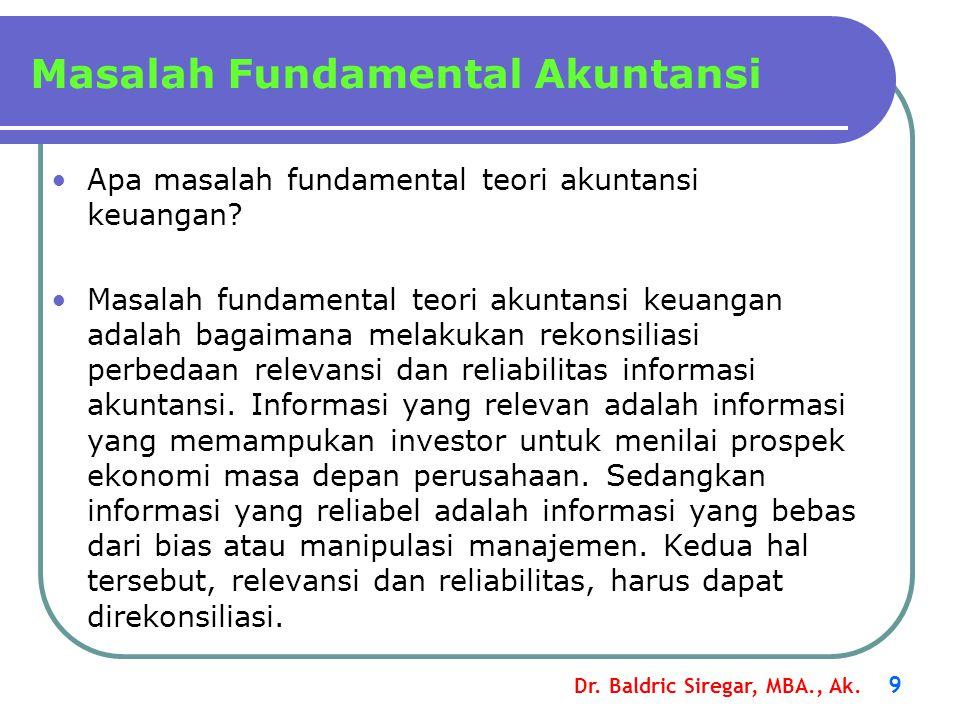 Dr. Baldric Siregar, MBA., Ak. 9 Apa masalah fundamental teori akuntansi keuangan? Masalah fundamental teori akuntansi keuangan adalah bagaimana melak