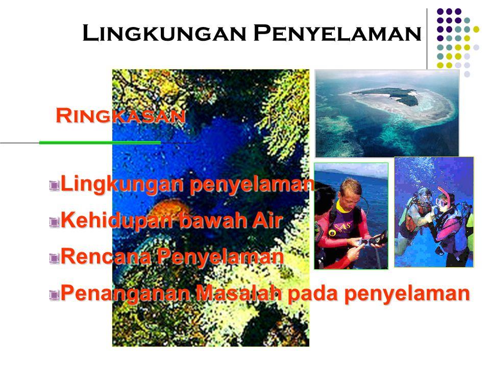 Lingkungan Penyelaman Ringkasan Ringkasan Lingkungan penyelaman Kehidupan bawah Air Rencana Penyelaman Penanganan Masalah pada penyelaman