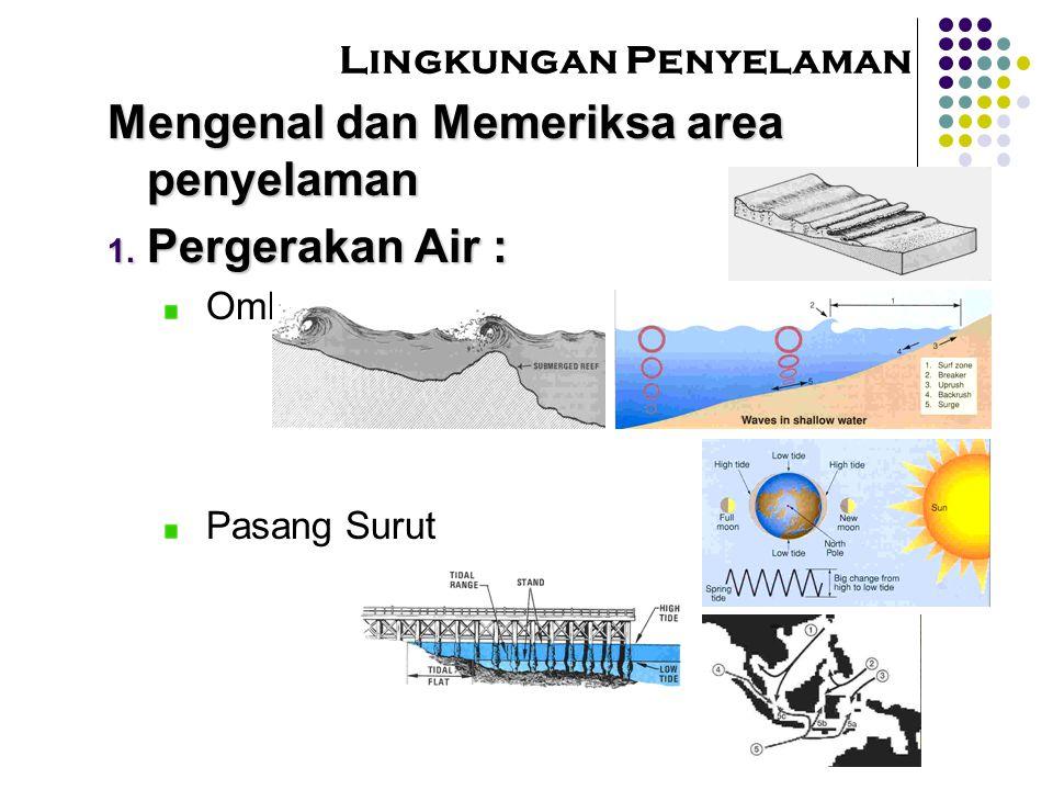 Lingkungan Penyelaman Mengenal dan Memeriksa area penyelaman  Pergerakan Air : Ombak dan Gelombang Pasang Surut