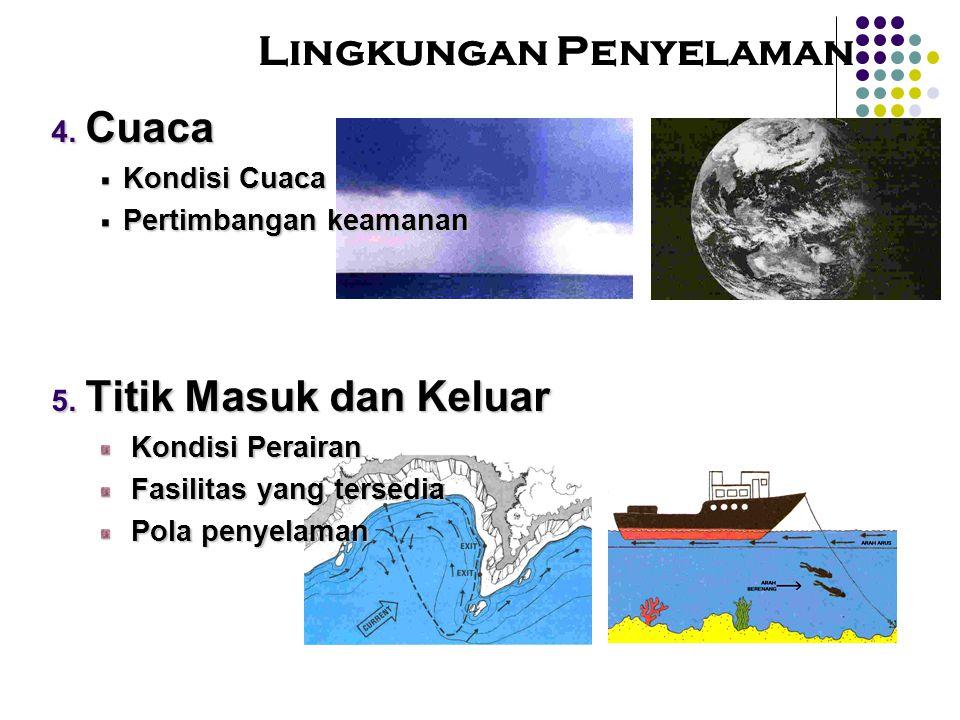 Lingkungan Penyelaman  Cuaca Kondisi Cuaca Pertimbangan keamanan  Titik Masuk dan Keluar Kondisi Perairan Kondisi Perairan Fasilitas yang tersedia