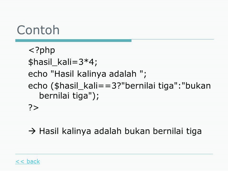 Contoh <?php $hasil_kali=3*4; echo