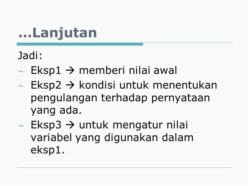...Lanjutan Jadi: Eksp1  memberi nilai awal Eksp2  kondisi untuk menentukan pengulangan terhadap pernyataan yang ada. Eksp3  untuk mengatur nila