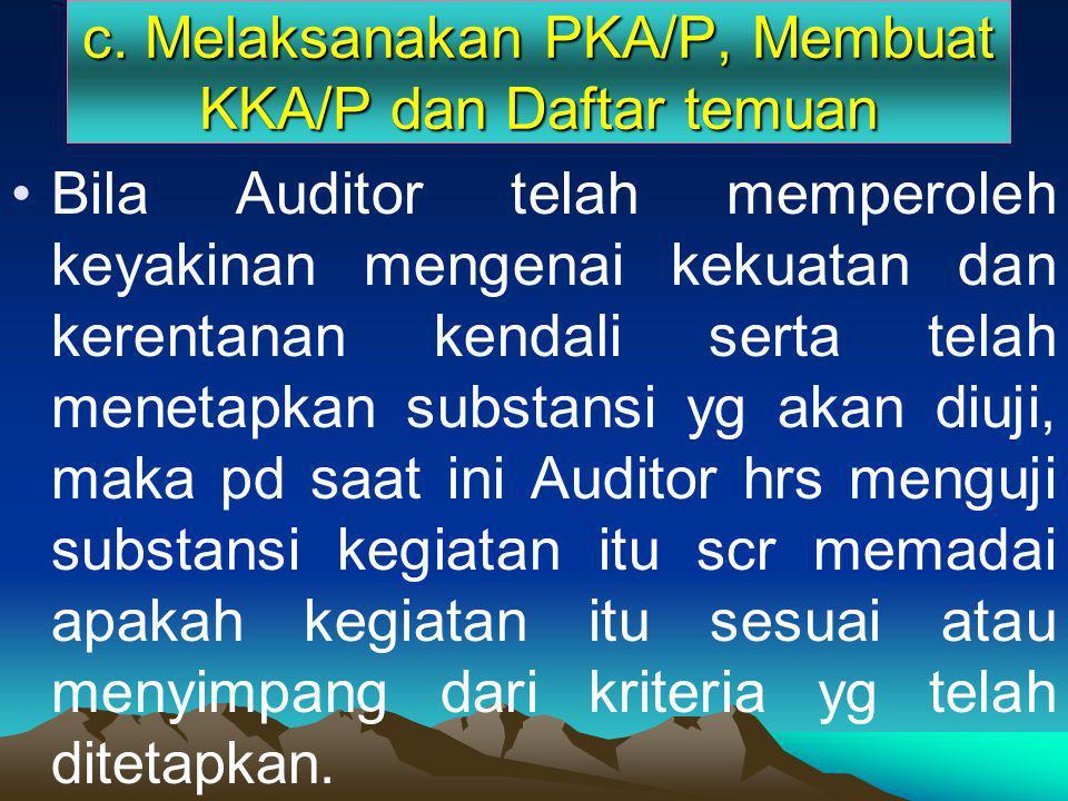 c. Melaksanakan PKA/P, Membuat KKA/P dan Daftar temuan Bila Auditor telah memperoleh keyakinan mengenai kekuatan dan kerentanan kendali serta telah me