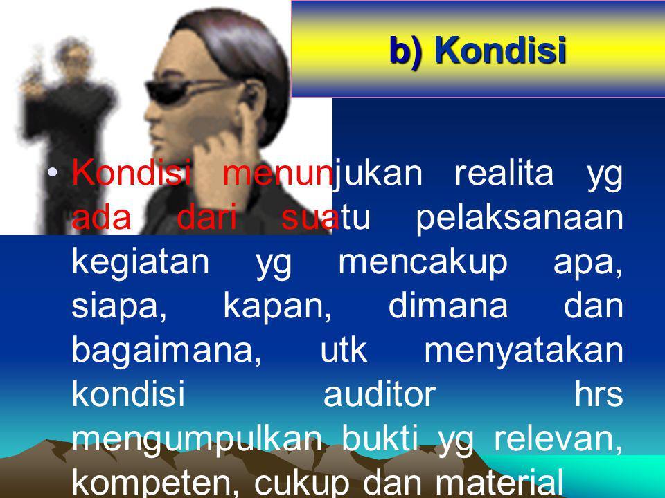 b) Kondisi Kondisi menunjukan realita yg ada dari suatu pelaksanaan kegiatan yg mencakup apa, siapa, kapan, dimana dan bagaimana, utk menyatakan kondi