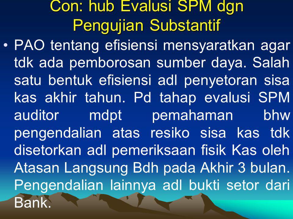 Con: hub Evalusi SPM dgn Pengujian Substantif PAO tentang efisiensi mensyaratkan agar tdk ada pemborosan sumber daya. Salah satu bentuk efisiensi adl