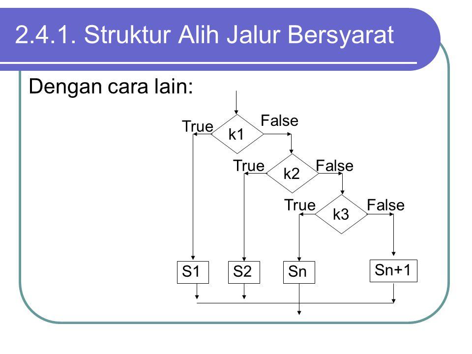 Dengan cara lain: 2.4.1. Struktur Alih Jalur Bersyarat k1 k2 k3 S1S2Sn Sn+1 False True