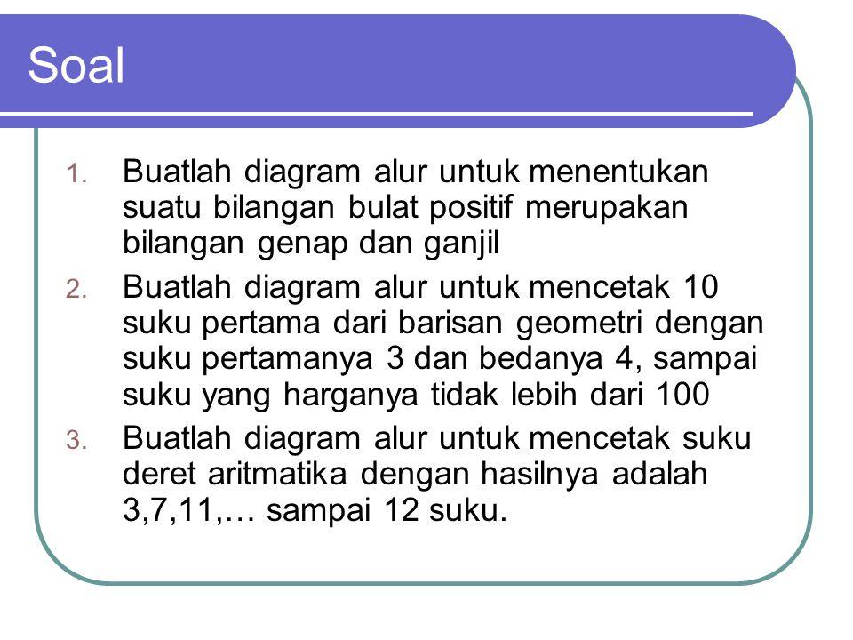 Soal 1. Buatlah diagram alur untuk menentukan suatu bilangan bulat positif merupakan bilangan genap dan ganjil 2. Buatlah diagram alur untuk mencetak
