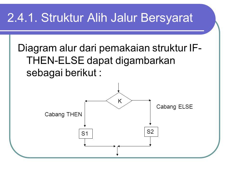 2.4.1. Struktur Alih Jalur Bersyarat Diagram alur dari pemakaian struktur IF- THEN-ELSE dapat digambarkan sebagai berikut : K S1 S2 Cabang ELSE Cabang