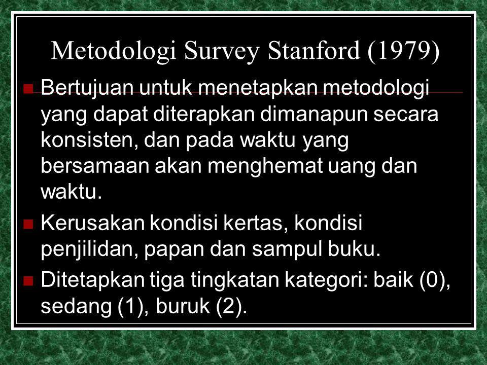 Metodologi Survey Stanford (1979) Bertujuan untuk menetapkan metodologi yang dapat diterapkan dimanapun secara konsisten, dan pada waktu yang bersamaa