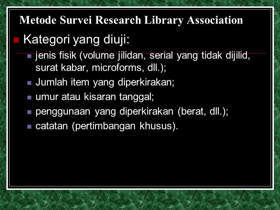 Metode Survei Research Library Association Kategori yang diuji: jenis fisik (volume jilidan, serial yang tidak dijilid, surat kabar, microforms, dll.)