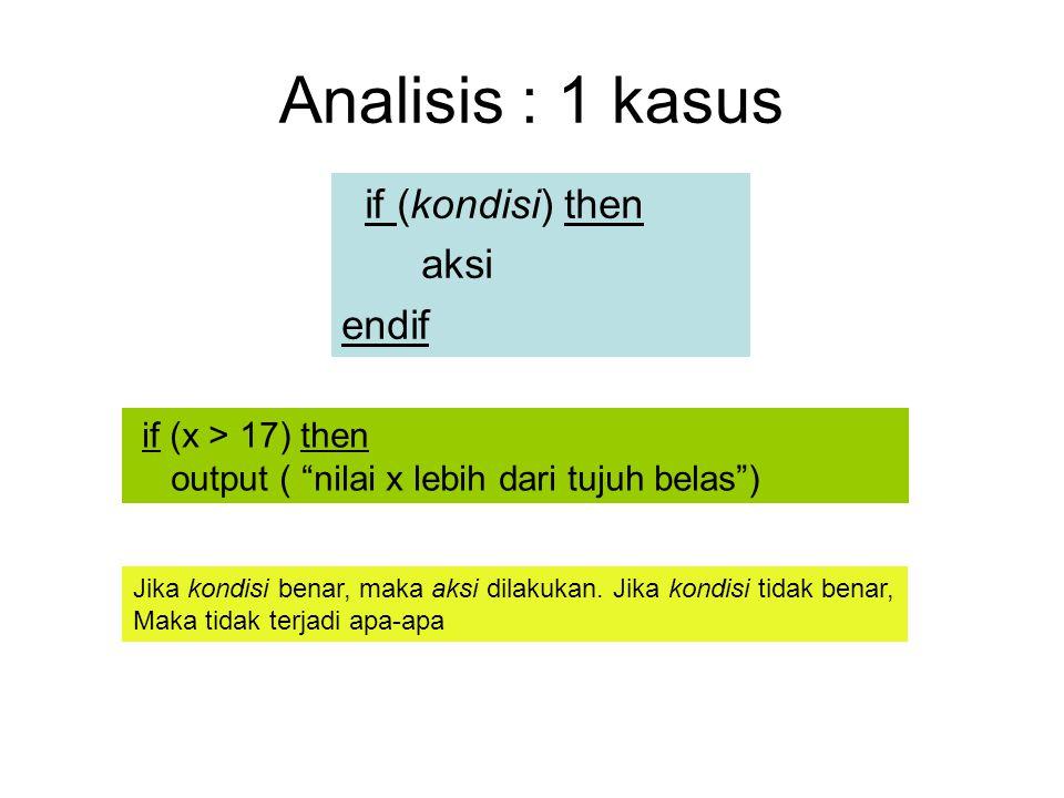 """Analisis : 1 kasus if (kondisi) then aksi endif if (x > 17) then output ( """"nilai x lebih dari tujuh belas"""") Jika kondisi benar, maka aksi dilakukan. J"""