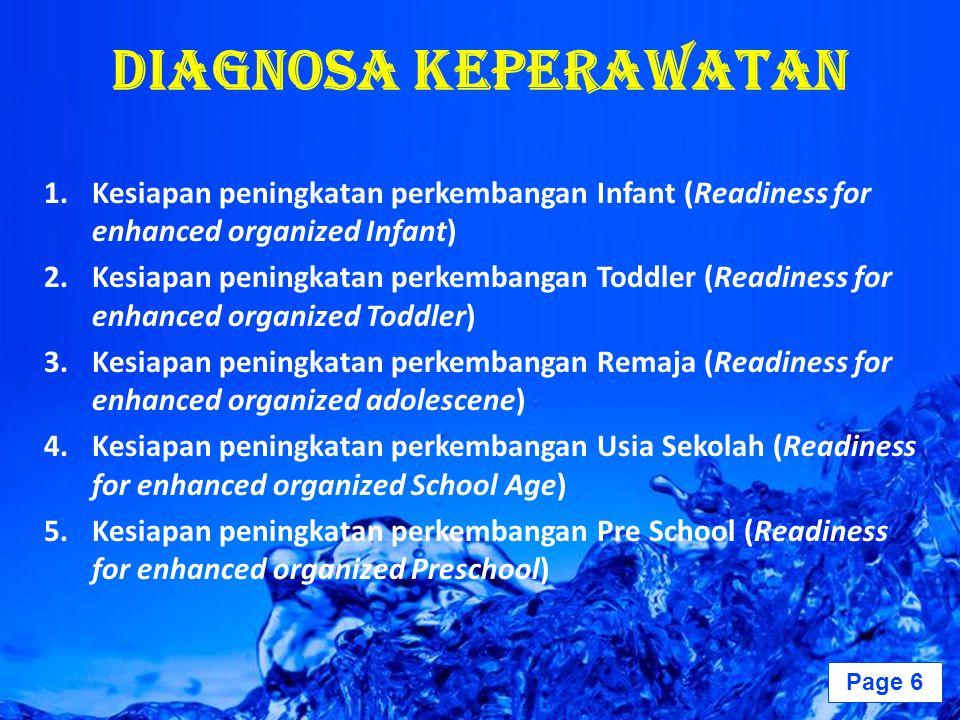 Page 7 Diagnosa Keperawatan 6.Kesiapan peningkatan perkembangan Dewasa (Readiness for enhanced organized Adult) 7.