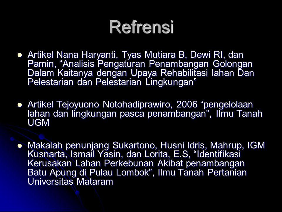 """Refrensi Artikel Nana Haryanti, Tyas Mutiara B, Dewi RI, dan Pamin, """"Analisis Pengaturan Penambangan Golongan Dalam Kaitanya dengan Upaya Rehabilitasi"""