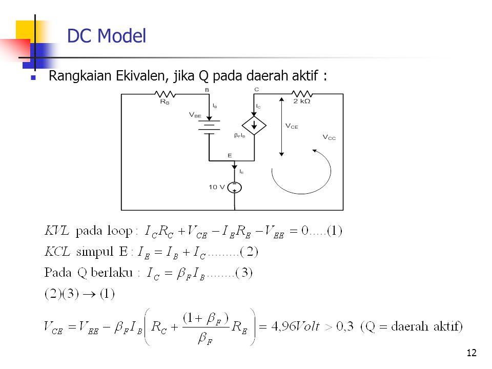 DC Model Rangkaian Ekivalen, jika Q pada daerah aktif : 12