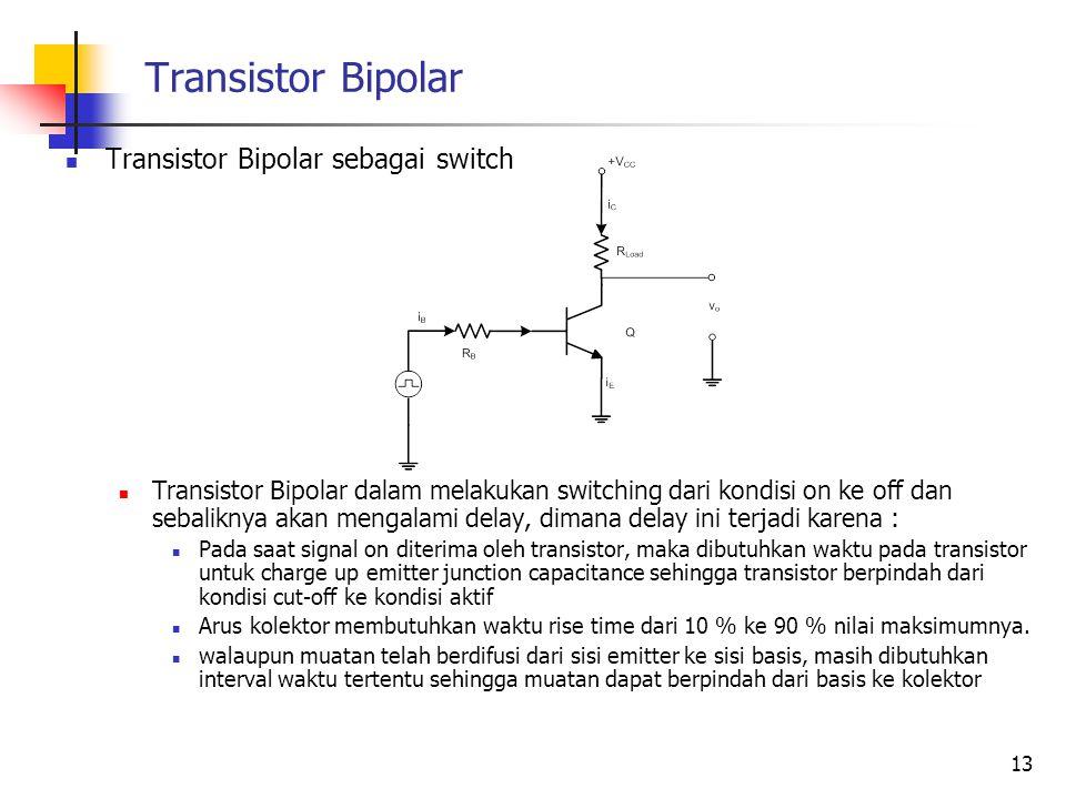 Transistor Bipolar Transistor Bipolar sebagai switch Transistor Bipolar dalam melakukan switching dari kondisi on ke off dan sebaliknya akan mengalami