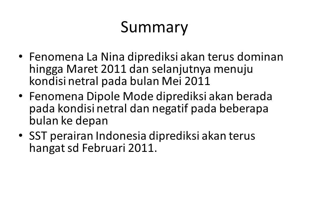 Summary Fenomena La Nina diprediksi akan terus dominan hingga Maret 2011 dan selanjutnya menuju kondisi netral pada bulan Mei 2011 Fenomena Dipole Mod