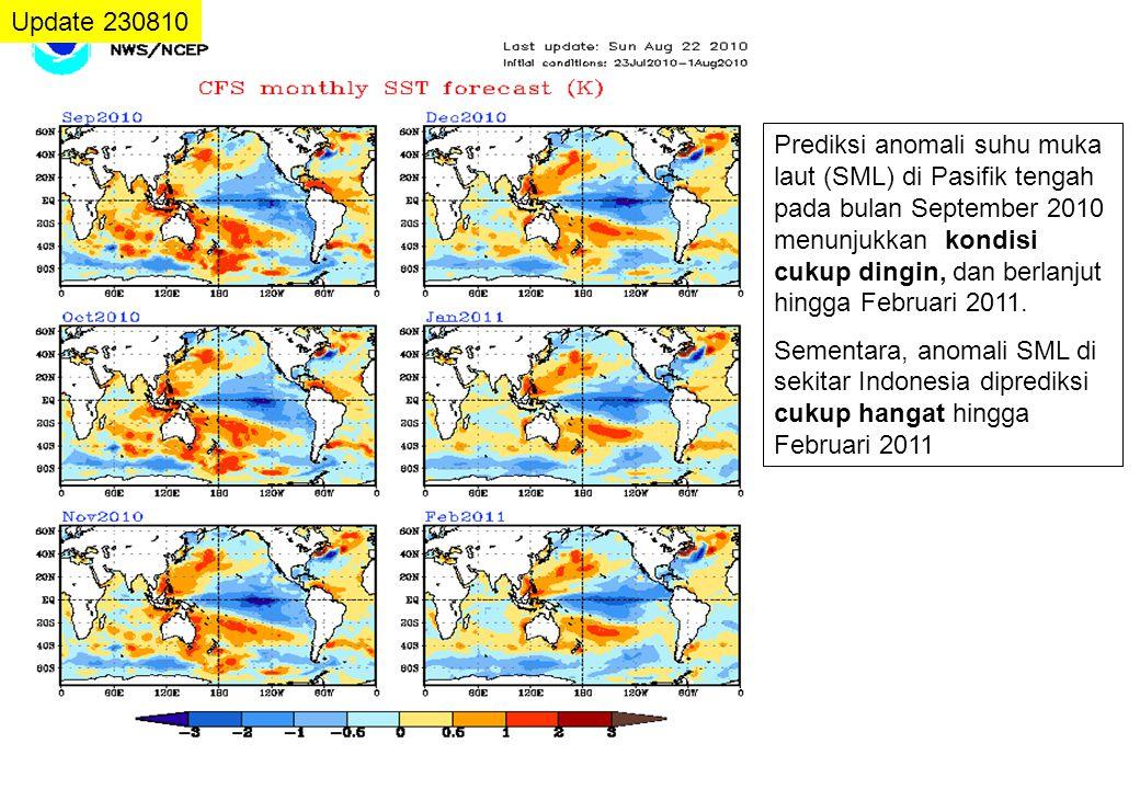 Update 230810 Prediksi anomali suhu muka laut (SML) di Pasifik tengah pada bulan September 2010 menunjukkan kondisi cukup dingin, dan berlanjut hingga